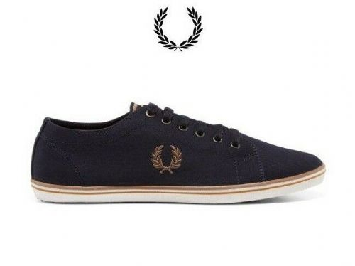Men's Fred Perry Navy Kingston Twill Canvas Trainers Brand New Boxed B6259U-248